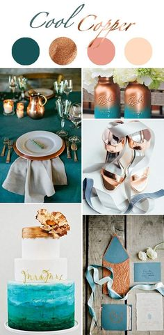 turquoise blue and copper, winter wedding color schemes