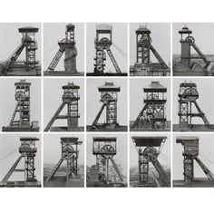 Bernd and Hilla Becher Winding towers, France, Belgium, Germany