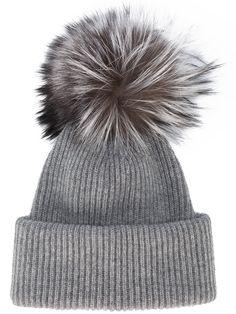 0724a86f52a INVERNI - Grey Ribbed Cashmere Hat With Fur Pom Pom