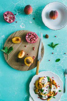 Peach Salad with Yoghurt & Pomegranate via Souvlaki for the Soul