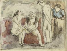 Lot n° 33 Jules PASCIN (1885-1930) INTERIEUR D'UNE MAISON CLOSE  Aquarelle, fusain et mine de plomb sur papier  Signé en bas à droite à la mine de plomb  14 x 19 cm - 5.5 x 7.5 in. Signed lower right, watercolour, charcoal and pencil on paper