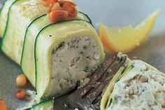 Blue cheese ricotta and courgette terrine recipe, Listener – If you have mini loaf tins they are perfect for this terrine You can use one larger loaf tin but the terrine will need to be cold to slice easily - Eat Well (formerly Bite) Appetisers, Avocado Egg, Serving Plates, Blue Cheese, Tins, Ricotta, Vegetarian Recipes, Lunch, Stuffed Peppers