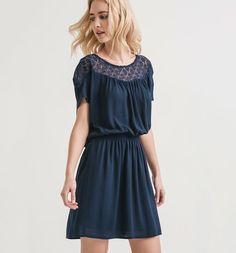 Sukienka z koronką niebieski - Promod