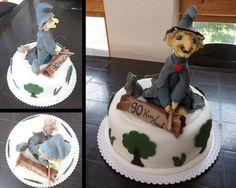 dort - ježibaba na koštěti s kočkou / cake - witch on a broomstick with a cat