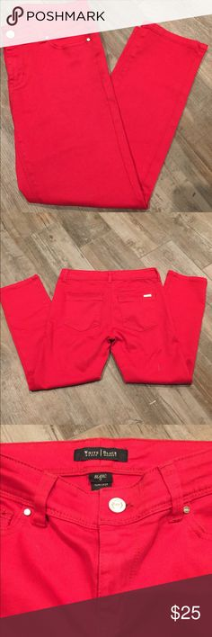"White House Black Market Red Slim Crop Jeans 23"" Inseam. 7.5"" Inseam. Blanc Collection. Fabulous crop & Gorgeous on!! I just don't wear them enough, they need a loving home. White House Black Market Jeans Ankle & Cropped"