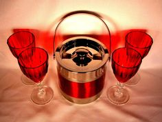 Red Crystal Goblets with Metal Ice Bucket