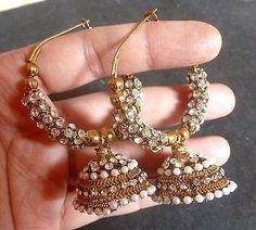 Antique Gold Plated Pearl Cz Indian Party Ring Jhumki Jhumka Earrings C. Indian Jewelry Earrings, Indian Jewelry Sets, Fancy Jewellery, Silver Jewellery Indian, Jewelry Design Earrings, Gold Earrings Designs, Gold Jewellery Design, Fashion Earrings, Jewelery