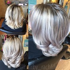 Silver blonde granny hair trend is here! Who loves this take on platinum blonde? Who knew grey hair would be in? Color created using redken shades eq gloss. Hair by Rachel fife at Sara Fraraccio salon Hair Color And Cut, Haircut And Color, Silver Grey Hair, White Hair, Blonde Highlights, Silver Highlights, Great Hair, Hair Today, Balayage Hair