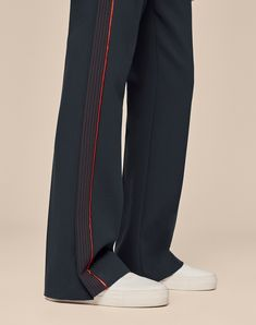 ME+EM's iconic Man Pant shape has been reinvented for the new season, with multiple contrasting stitched rows down the side of the leg for a pared-back, contemporary take on our signature side stripes. Women's Trousers, Women's Pants, Tailored Trousers, Jogger Pants, Trousers Women, Joggers, Pants For Women, Sweatpants, Contemporary Dresses