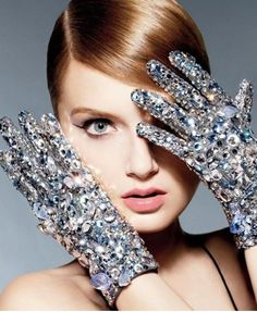 Lily Donaldson for Swarovski embellished gloves S/S 2013 Campaign