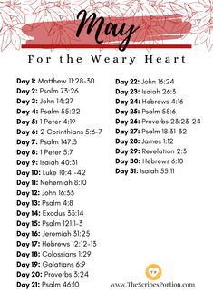 May Scripture Verses - - Life turns weary with its sudden ups and downs, routines and problems. It takes its toll on a body like nothing else. This is also true about the Christian walk, we are human and not. Bible Study Notebook, Bible Study Plans, Bible Plan, Bible Study Tips, Bible Study Journal, Daily Bible Reading Plan, Bible Journaling For Beginners, Notebook Quotes, Prayer Scriptures