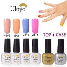 Ukiyo 4pcs Macarons Nail Polish  BaseandTop Coat,Soak off UV/LED Gel Nail Salon Sets -H ** Click image for more details.