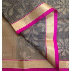 Buy OS400001-THAMBOORI's Handwoven Fine Organza Silk-Beige black pink, 700g online - Handwoven Kanchivarams,Soft Silks, Silk Cottons and Tussars!
