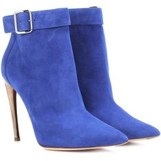 Alexander McQueen Curved Horn-Heel Suede Ankle Boots ($1,210) ❤ liked on Polyvore featuring shoes, boots, ankle booties, blue, bootie boots, blue boots, blue ankle boots, suede ankle bootie and suede booties