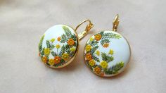 Warm Sunrise Handmade Clay Orange Yellow White Flower hook earring Women floral earring Birthday gift for Her Drop Jewelry Mothers Day