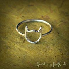 Katze Ring Handarbeit 925 Sterlingsilber Bague von Katstudio