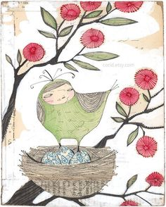 impresión de arte Ave - maternidad - arte de la pared - reproducción - tienden - 8 x 10 - edición limitada - archivo - imprimir por cori dantini