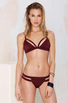 Nasty Gal Mind the Gap Caged Bikini Bottom - Burgundy | Shop What's New at Nasty Gal