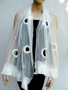 Nuno felt silk, merino wool scarf