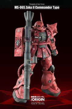 GUNDAM GUY: HG 1/144 Char Aznable Zaku II [Gundam The Origin] - Customized Build