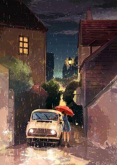Image about art in anime scenery by cruel-yet-beautiful-world Bd Art, Japon Illustration, Digital Illustration, Image Manga, Animation, Anime Scenery, Anime Art Girl, Aesthetic Art, Cute Art