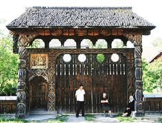 Traditional Romanian carved wooden gate in Hoteni, Maramureş