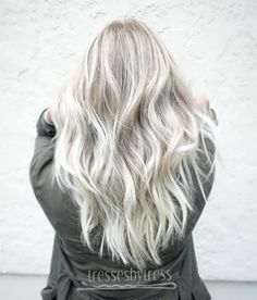 Platinum white blonde balayage hair