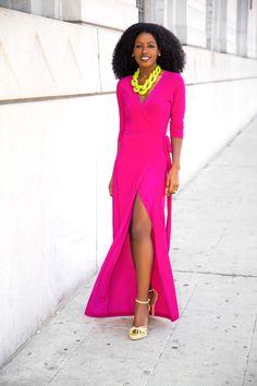Magenta Wrap Maxi Dress