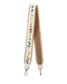 V36B7 Fendi Strap You Floral Snakeskin Shoulder Strap for Handbag, White/Multi