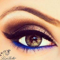 Eye makeup with blue eyeliner on the bottom