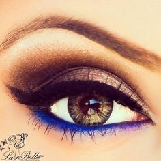 Eye makeup with blue eyeliner on the bottom