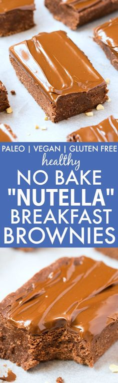 "Healthy No Bake ""Nutella"" BREAKFAST Brownies- Dessert for breakfast! A thick and chewy chocolate brownie base, with a creamy guilt-free frosting packed with protein! Refined sugar free and dairy free! {vegan, gluten free, paleo recipe}- thebigmansworld.com"