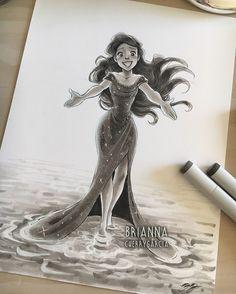 Ohh it's the little mermaid 🧜🏻♀️ Disney Artwork, Disney Fan Art, Disney Drawings, Disney Love, Cool Drawings, Disney Kunst, Arte Disney, Disney Magic, Copic