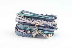 Navy Denim Violet Boho Bracelet Riverside Airy Blue by cardioceras