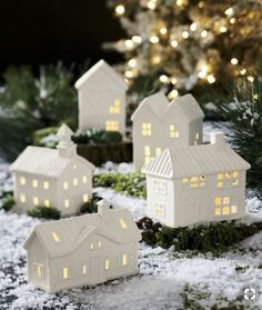 Shop White Porcelain Houses, Set of Clustered as a village, our delightful porcelain houses represent a variety of architectural styles. Filled with battery-operated tealight candles (sold separately), the set glows like a tiny hamlet at night. Festival Decorations, Xmas Decorations, Christmas Projects, Christmas Home, Christmas Holidays, Christmas Candle Holders, Navidad Diy, Ceramic Houses, Home Candles