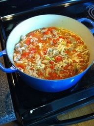 Ds Cabbage roll soup--Saut 1 lg chopped onion til soft. Add minced garlic, 15 oz chopped toms (fire roasted is great!), 1 can rotel,  6 c beef broth, 1/2 t salt, 1 T cider vinegar, 1 T packed brown sugar, good pinch red pepper flakes and 1 head cabbage shredded finely (or large bag coleslaw mix from SAMs).  Being to boil, reduce heat and simmer til tender. Serve over scoops of hot rice. Enjoy!!