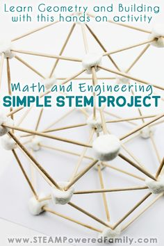 Marshmallow STEM Building Challenge using simple items to build complex Hexagon shapes to help master geometry and engineering principles. Math Activities For Kids, Steam Activities, Preschool Science, Hands On Activities, Elementary Science, Stem Learning, Learning Resources, Primary Resources, Teaching Ideas
