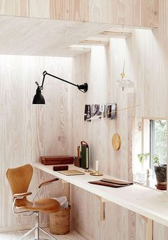 Ceiling to floor wooden clad home office of photographer Ditte Isager Interior Design Photos, Office Interior Design, Home Office Decor, Office Interiors, Home Interior, Home Decor, Interior Modern, Modern Luxury, Workspace Inspiration