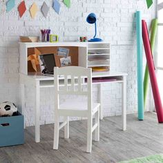 52 Stunning Desk Design Ideas For Kids Bedroom. Get the most out of your kid's bedroom design by adding the perfect desk. Use this guide to kid's bedroom desk design . Kids Writing Desk, Kids Study Desk, Kid Desk, Teen Desk, Boys Desk, Bedroom Desk, Kids Bedroom Furniture, Home Office Furniture, White Bedroom