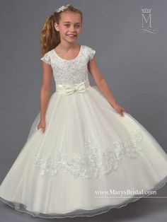 Tulle Flower Girl Dress with Sequined Lace by Mary's Bridal Cupids Bridal Cupids Collection-ABC Fashion Tulle Flower Girl, Ivory Flower Girl Dresses, Tulle Flowers, Lovely Dresses, Mary's Bridal, Bridal Wedding Dresses, Bridesmaid Dresses, Bridal Style, Gowns For Girls