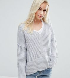 ASOS PETITE Chunky Sweater In Fluffy Yarn With V Neck - Gray