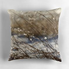 Nature's Bling ~ THROW PILLOW w/Exclusive Meadow Grass Nature Design ~ Delicate #ExclusiveCustomDesignCustomDesign #Nature
