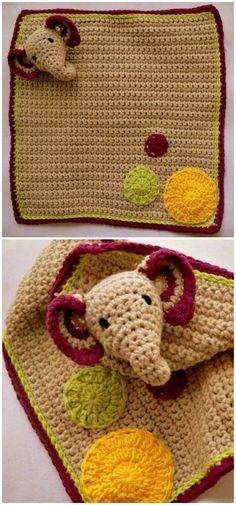 Inspired Photo of Crochet Elephant Blanket Pattern Free Crochet Elephant Blanket Pattern Free 35 Free Crochet Lovey Patterns For Your Cute Ba Diy Crafts Crochet Owl Blanket, Crochet Security Blanket, Crochet Elephant Pattern, Elephant Applique, Crochet Lovey, Crochet Teddy, Crochet Blanket Patterns, Diy Crafts Crochet, Crochet Projects