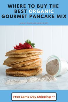 Have you been searching for the best healthy pancake mix ever? Our raw, organic pancake mix, or is crafted from whole foods and contains no GMOs and absolutely no added sugar! (Best Pancake Mix Ever Healthy Eating Blogs, Easy Healthy Recipes, Gourmet Recipes, Whole Food Recipes, Healthy Breakfast Options, Clean Eating Breakfast, Vegan Breakfast Recipes, Healthy Pancake Mix, Pancake Recipes