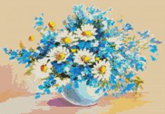Counted Cross Stitch KIT Daisies in a Sea of Blue by TheArtofCrossStitch on Etsy. Also available in PDF. #crossstitch