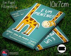 Convite Chá de Fraldas Girafa Cute 10x7