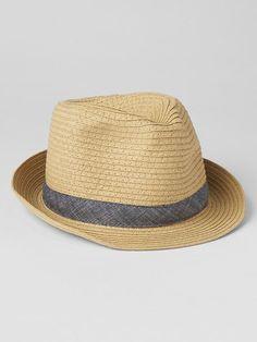 Stripe straw fedora Product Image
