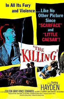 The Killing is a 1956 film noir produced by James B. Harris and directed by Stanley Kubrick. It was written by Kubrick and Jim Thompson and based on the novel Clean Break by Lionel White. The drama features Sterling Hayden, Coleen Gray, Vince Edwards and Elisha Cook Jr.