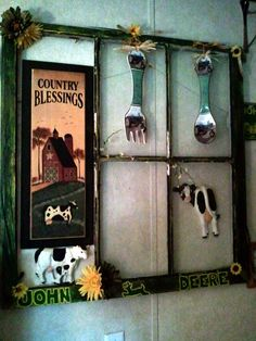 John Deere window I made for my own kitchen. Want to put black n white pics of old JD tractors but havent had the time yet so I improvised for now. Cow Kitchen, Kitchen Dinning Room, Country Kitchen, Kitchen Themes, Kitchen Ideas, Kitchen Decor, Old Window Projects, Home Projects, John Deere Kitchen