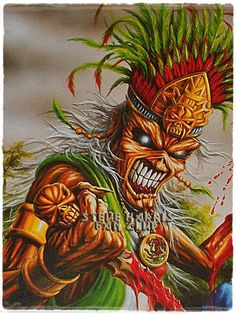 Eddie as a Mesoamerican Emperor, probably promotional material for concerts in Mexico.